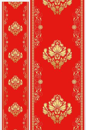 汉唐大红金色欧式花纹高端婚礼T台