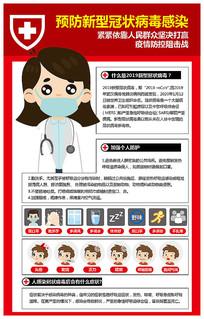 简约卡通新型冠状病毒海报