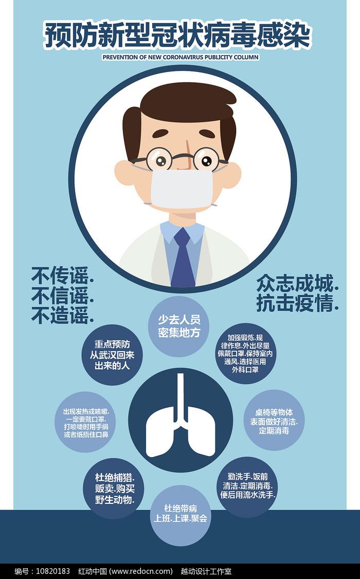 卡通预防新型冠状病毒宣传海报图片