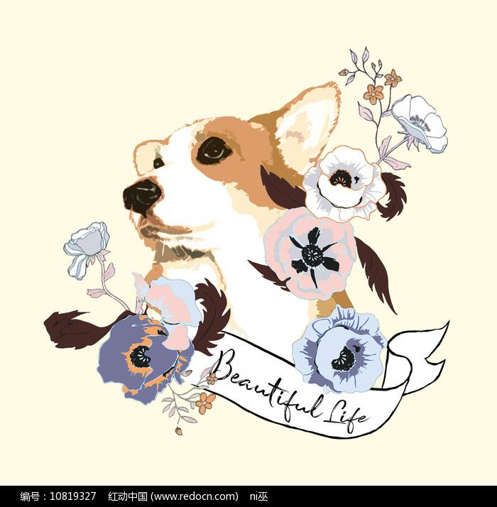 趣味卡通狗花T恤印花图案图片