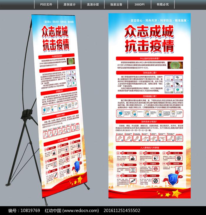 社区新型冠状病毒防控指南展架图片