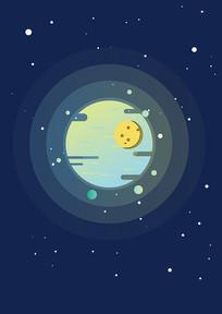 矢量扁平手绘星球在浩瀚星空中