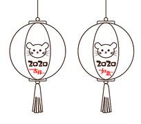 原创新年2020鼠年简洁线条灯笼