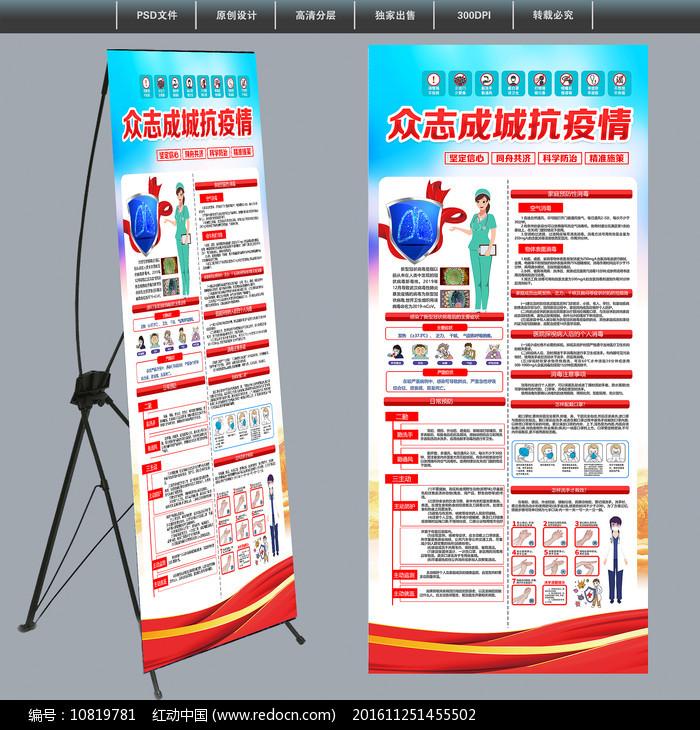 众志成城社区新型冠状病毒防控展架图片