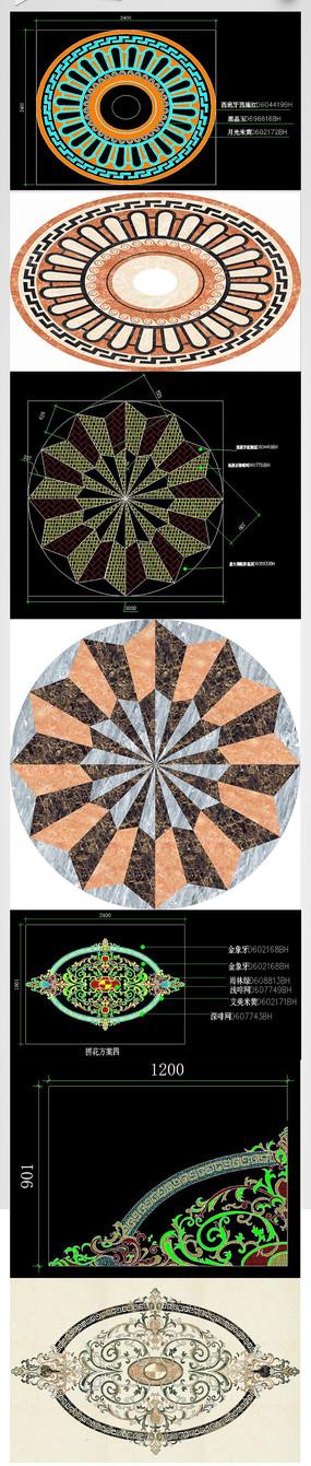 CAD地面拼花 水刀石 大理石拼花 雕刻