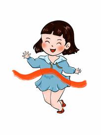 开心奔跑的女孩