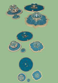 欧式洋气楼盘公园景观喷泉水景小品素材