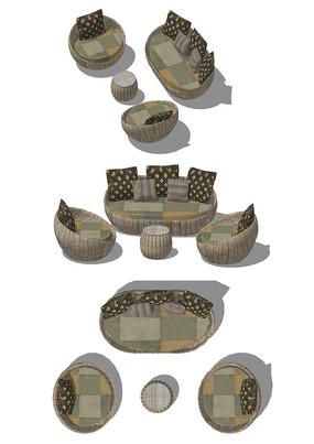 室内温馨日系日式小窝民宿软座沙发座椅组合