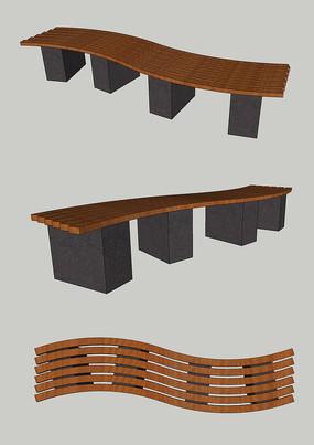 现代简约木质公园景观坐凳