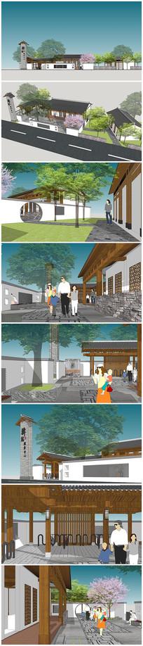 乡村民宿自行车驿站客栈旅游服务中心模型