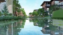 新中式水上别墅模型