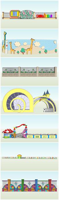 幼儿园卡通艺术建筑大门围墙设计模型