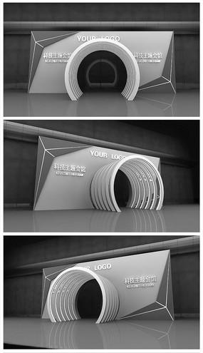 原创灰色科技门头模型效果图