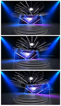 原创蓝色炫彩舞台效果图模型