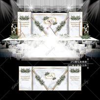 大理石纹婚礼INS风婚庆舞台背景板