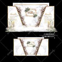 大理石纹婚礼简约大气婚庆迎宾区背景板