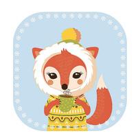 原创冬季狐狸T恤印花图案