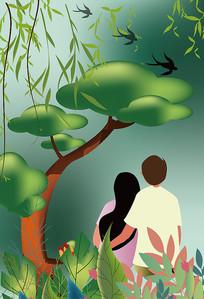 原创绿色系情人节矢量扁平春天节气插画海报