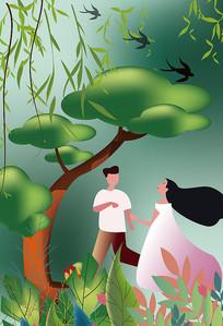 原创唯美绿色系情人节春天节气插画海报