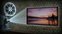 复古老式放映机照片墙展示图文回忆pr模板