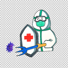 新型冠状病毒医生抗击病毒PNG