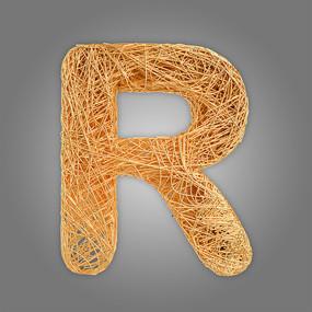 抽象金属立体字母R