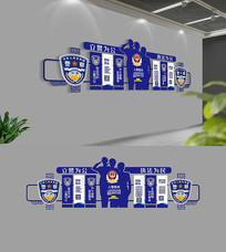 藍色警營文化墻模板展廳