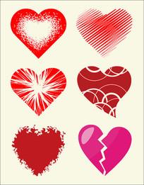 矢量心形紅心圖案圖形設計