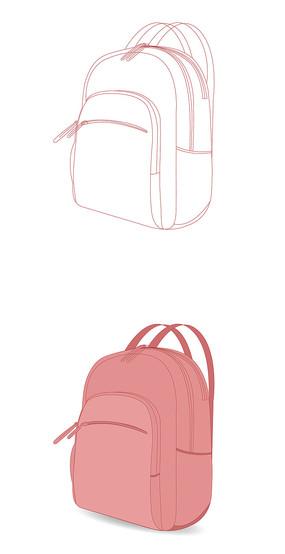 双肩背包旅行包矢量绘画设计图稿