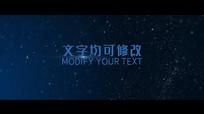 唯美蓝色粒子星空背景标题字幕文字pr模板