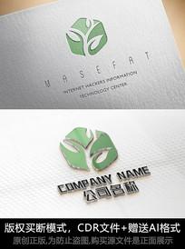 绿叶茶叶logo标志设计