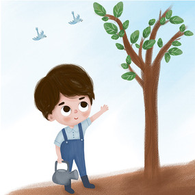 植树节浇水的男孩