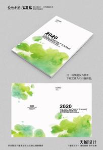 创意绿色泼墨画册封面