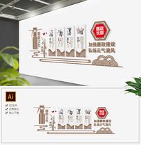 中式大气党建廉政宣传栏AI矢量模板