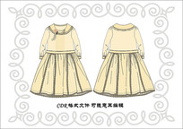 女裝長袖連衣裙服裝設計圖