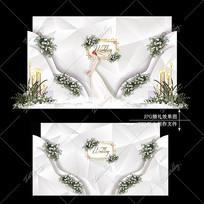 高级灰婚礼舞台宴会效果图设计大理石纹婚庆