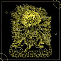 西藏唐卡火神图案