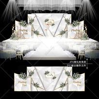银色大理石纹婚礼宴会效果图设计婚庆舞台