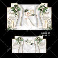 银色大理石纹婚礼宴会效果图设计迎宾区