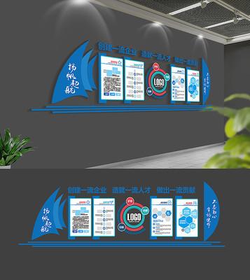 蓝色科技企业文化墙