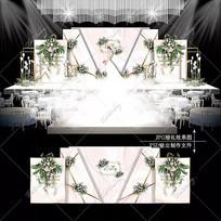 粉白色婚礼舞台宴会背景板