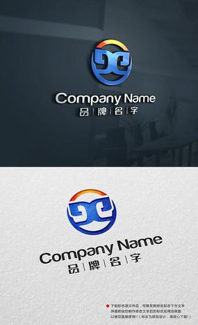 蓝色电子标志电子LOGO设计