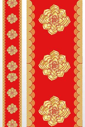 中式大红金色汉唐花婚庆t台图案设计