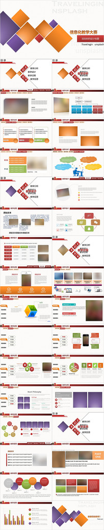 彩色完整信息化教学设计教师说课PPT模板