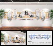 简洁素雅木风新中式廉政文化墙