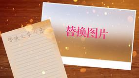 金色粒子模板图片文字展示相册PR模板