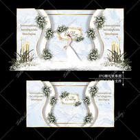 蓝色水彩婚礼宴会效果图设计大理石纹婚庆