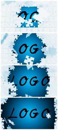 拼图logo展示片头演绎视频模板