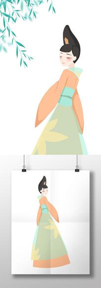 原创手绘中国风橘色唐朝美女