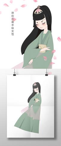 原创手绘中国风春天绿色古装女性